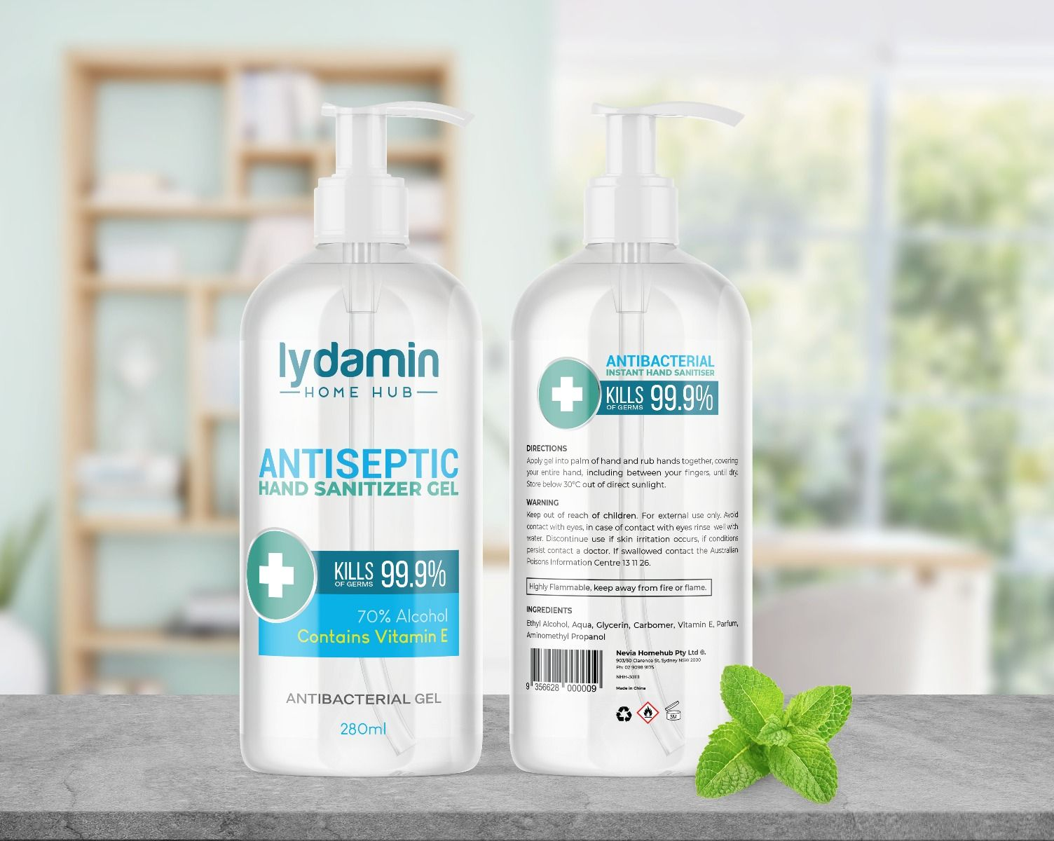 48 x 280ml lydamin® Antiseptic Hand Sanitiser gel